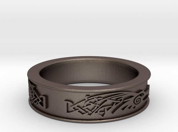 Ascskyrim Ring Dragonborn Size 13 Jobulon 3 in Polished Bronzed Silver Steel