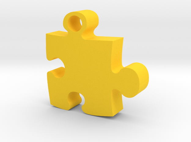 Puzzle piece in Yellow Processed Versatile Plastic