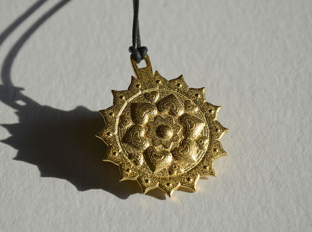 Anahata Heart Chakra in Polished Gold Steel