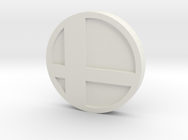 Super Smash Brothers Coin in White Strong & Flexible