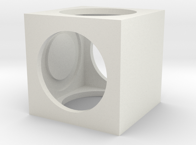 Moving Cube  in White Natural Versatile Plastic