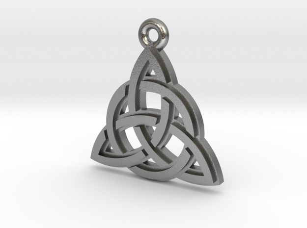 """Trinity Knot"" Pendant, Cast Metal in Natural Silver"