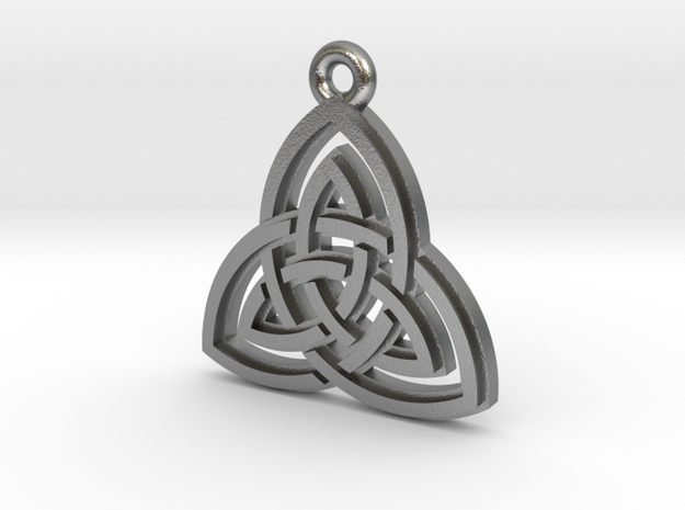"""Double Triquetra"" Pendant, Cast Metal in Raw Silver"