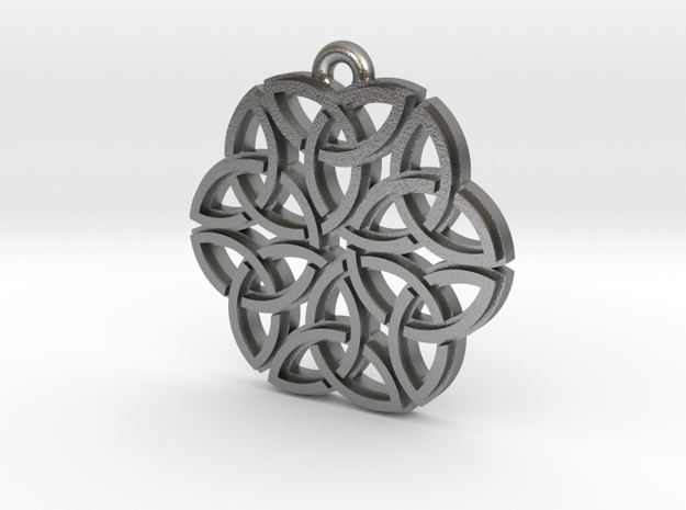 """Triquetra Ornament"" Pendant, Cast Metal in Natural Silver"