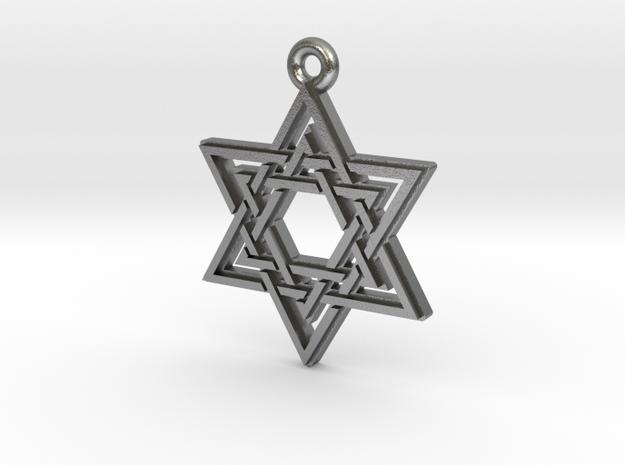 """Double Hexagram"" Pendant, Cast Metal in Natural Silver"