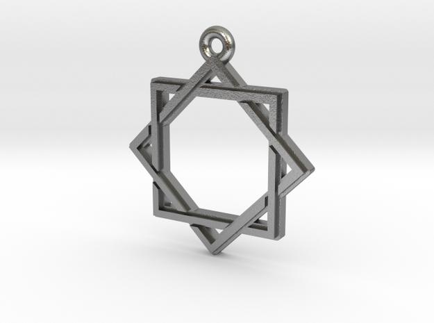 """Octagram 2.0"" Pendant, Cast Metal in Natural Silver"
