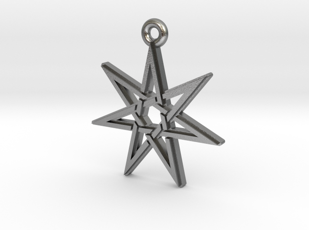 """Heptagram 3.0"" Pendant, Cast Metal in Natural Silver"