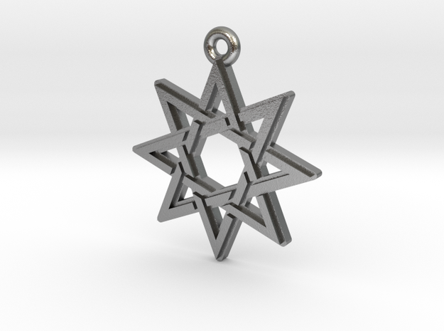 """Octagram 3.0"" Pendant, Cast Metal in Natural Silver"