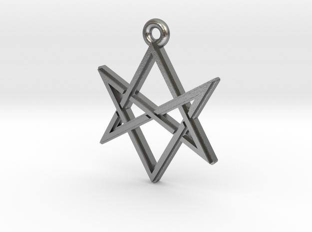 """Unicursal Hexagram"" Pendant, Cast Metal in Natural Silver"