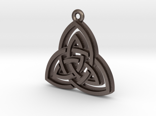 """Double Triquetra"" Pendant, Printed Metal in Stainless Steel"