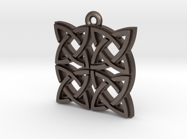 """Gothic Knot"" Pendant, Printed Metal in Polished Bronzed Silver Steel"