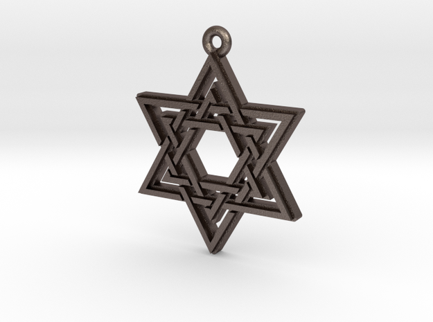 """Double Hexagram"" Pendant, Printed Metal in Polished Bronzed Silver Steel"