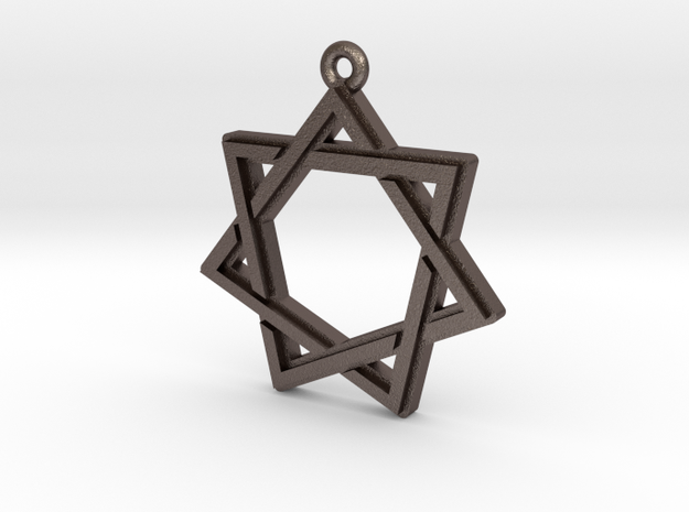 """Heptagram 2.0"" Pendant, Printed Metal in Polished Bronzed Silver Steel"