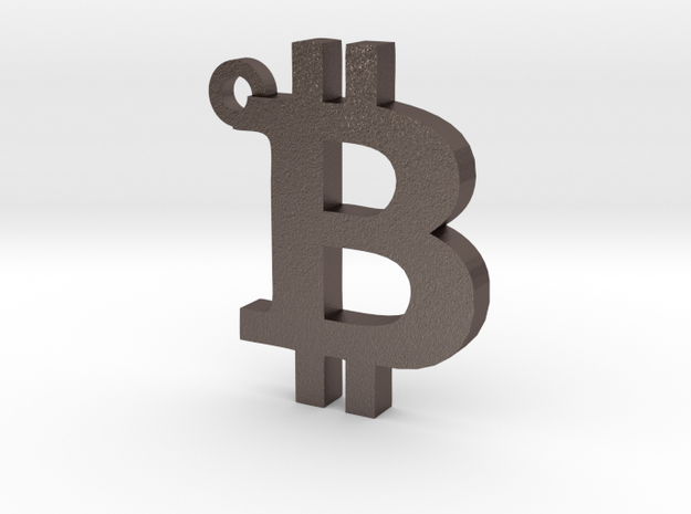 Bitcoin Symbol  Keychain in Polished Bronzed Silver Steel