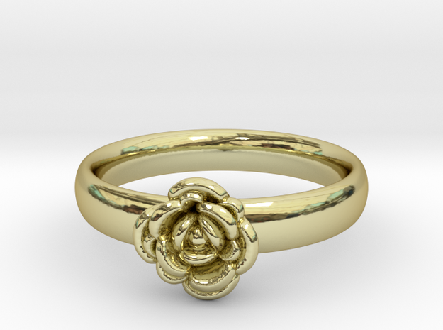 Ring with a rose in 18k Gold Plated Brass