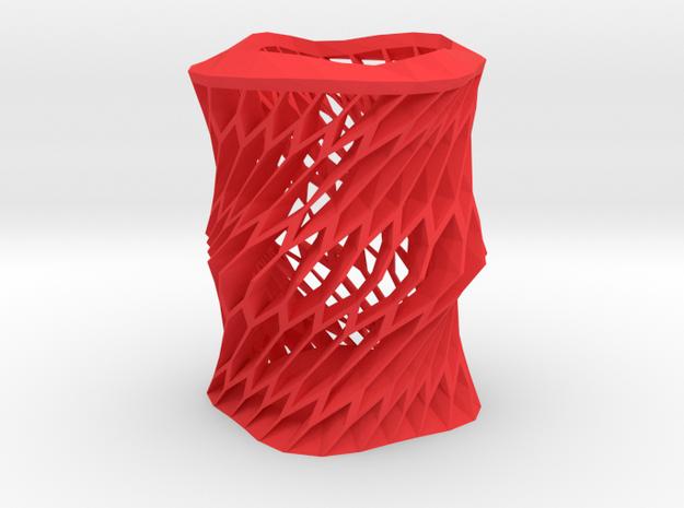 Twisted vase in Red Processed Versatile Plastic