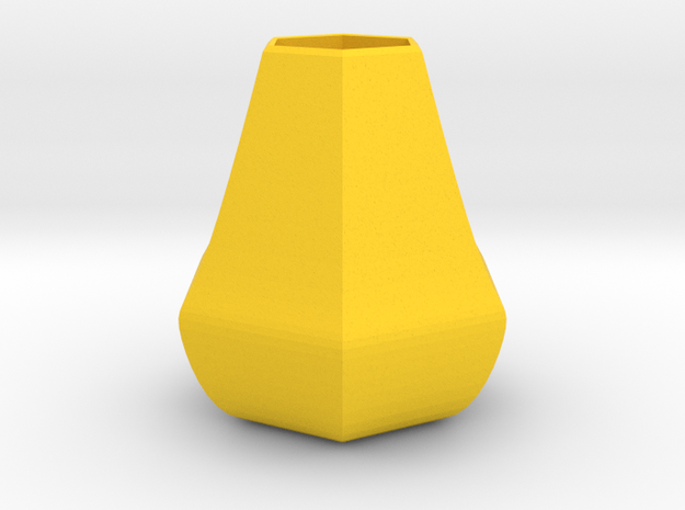 Bulky honeycomb vase in Yellow Processed Versatile Plastic
