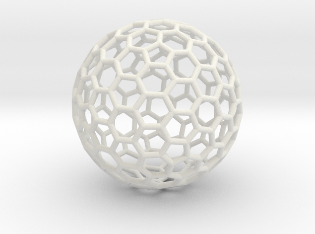 Fullerene C260 - large in White Natural Versatile Plastic
