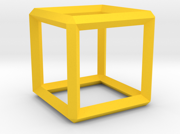 Cube wireframe in Yellow Processed Versatile Plastic