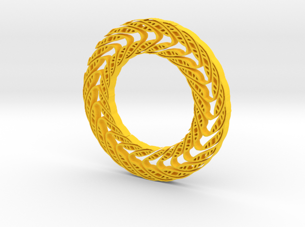 Wavy circle in Yellow Processed Versatile Plastic