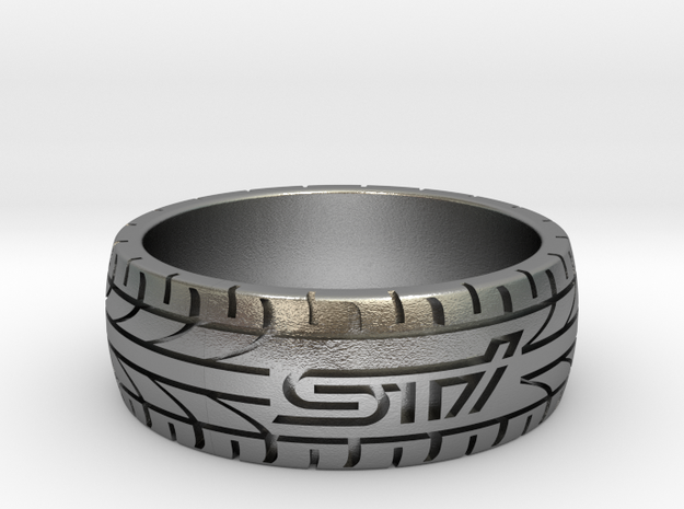 Subaru STI ring - 20 mm (US size 10) in Natural Silver
