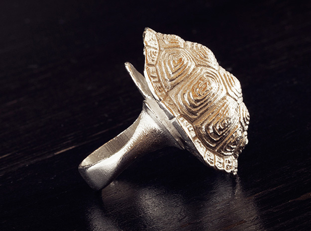 Turtle Ring size7 17.3mm + more sizes in Raw Silver