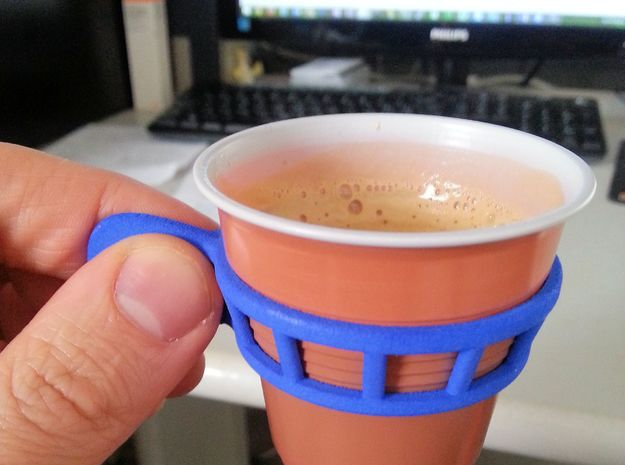 Espresso cup holder in Blue Processed Versatile Plastic