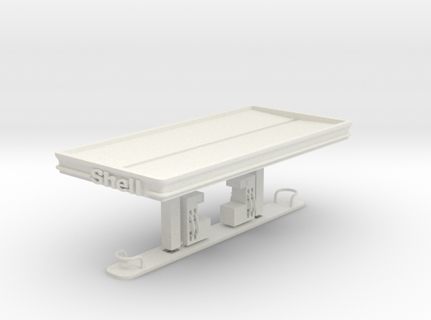 N Scale Shell Station in White Natural Versatile Plastic