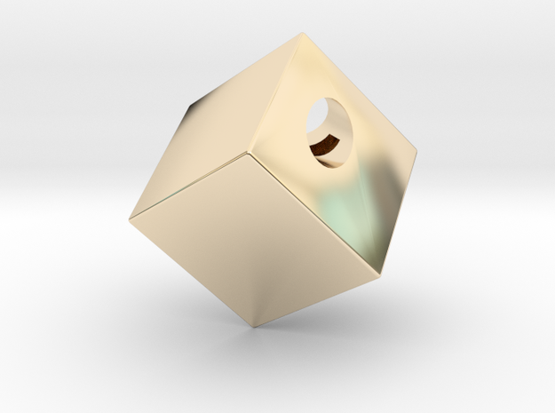 Cube Pendant in 14K Yellow Gold