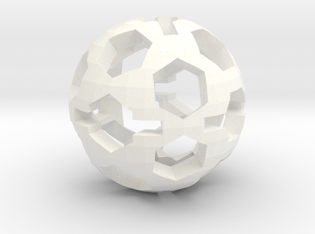 Hexball in White Processed Versatile Plastic