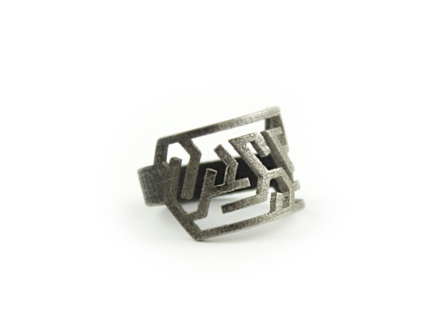 Maze Delta Ring size US6  in Polished Nickel Steel