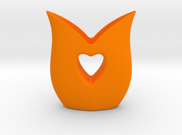 Heart Vase in Orange Processed Versatile Plastic