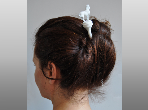 Hairstick with Horse (large size) in White Natural Versatile Plastic