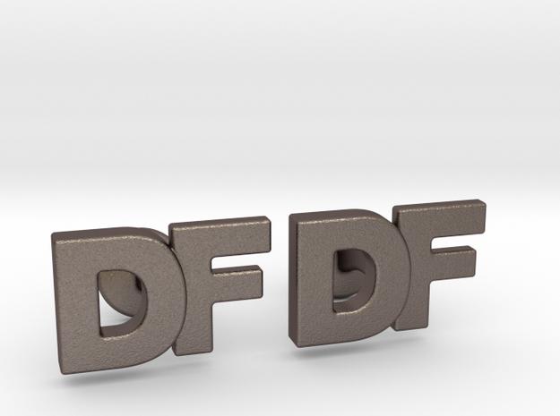 Monogram Cufflinks DF in Polished Bronzed Silver Steel
