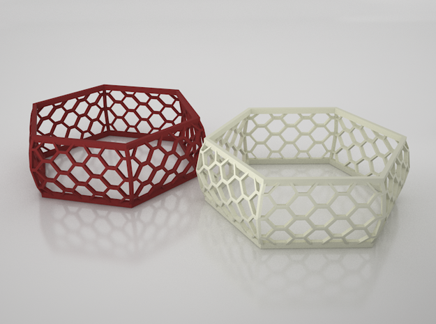Hexagon Bracelet 3d printed VRay render