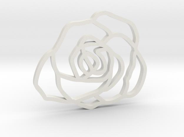 Rose Pendant in White Natural Versatile Plastic