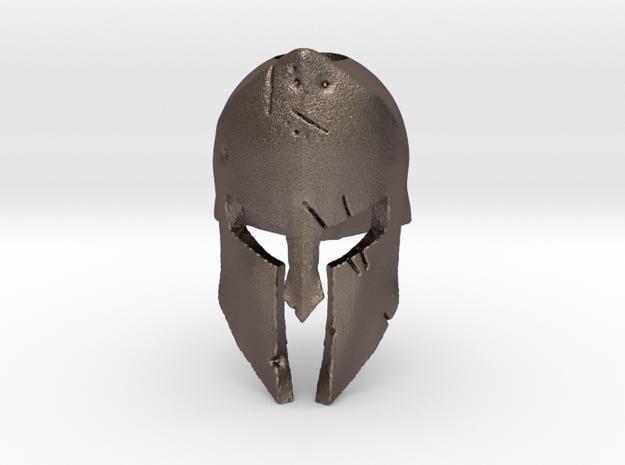 Spartan Battle Bead in Polished Bronzed Silver Steel