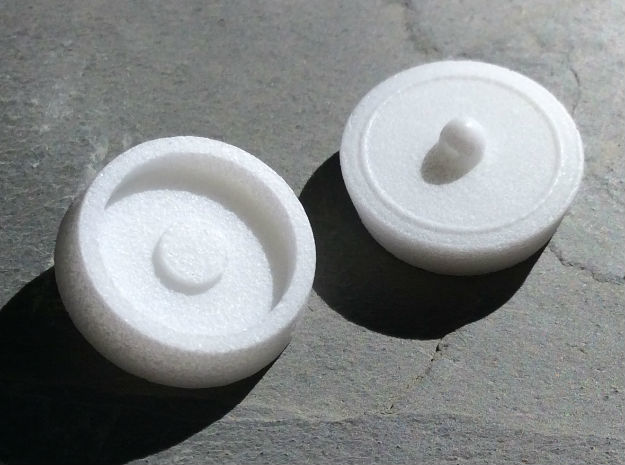 Bath Plug Earrings in White Processed Versatile Plastic