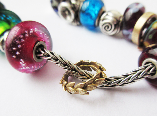 Laurel crown charm, Trollbeads compatible in Raw Brass