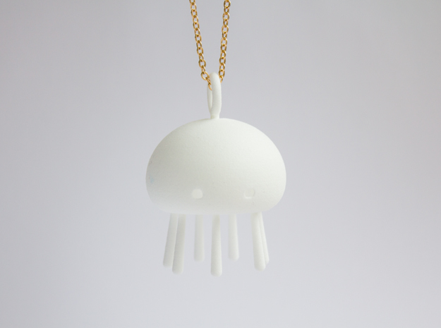 Jelly time! Jellyfish Pendant in White Strong & Flexible Polished