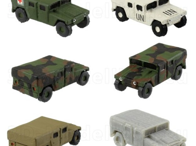 1/220 US Army M1035 Humvee HMMWV Hummer H1 in Smooth Fine Detail Plastic