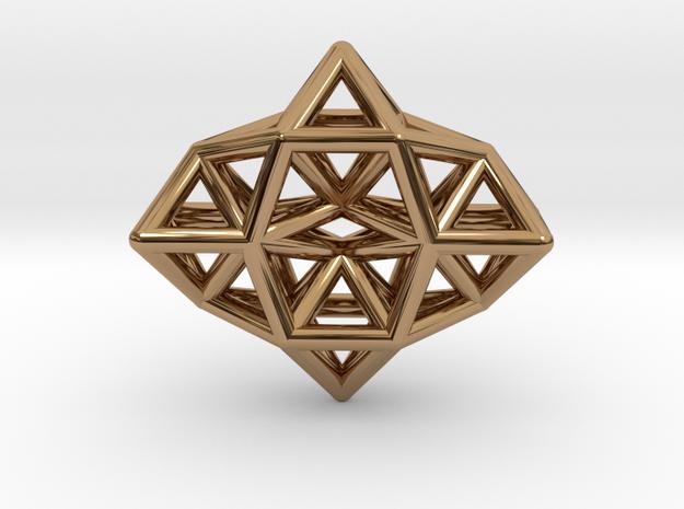 Deltahedron Toroid Pendant in Polished Brass