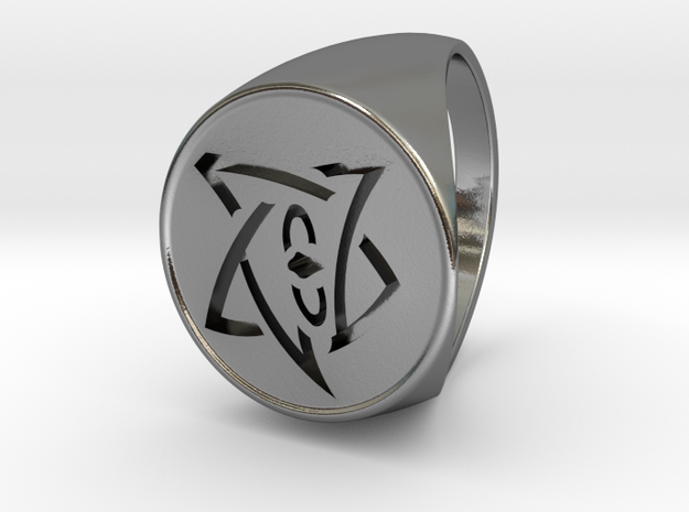 Elder Sign Signet Ring Size 11 in Polished Silver