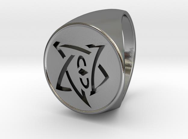 Elder Sign Signet Ring Size 11 in Polished Silver