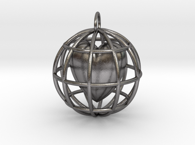 Caged Heart Pendant in Polished Nickel Steel