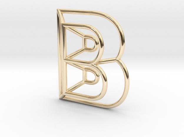 B Pendant in 14K Yellow Gold