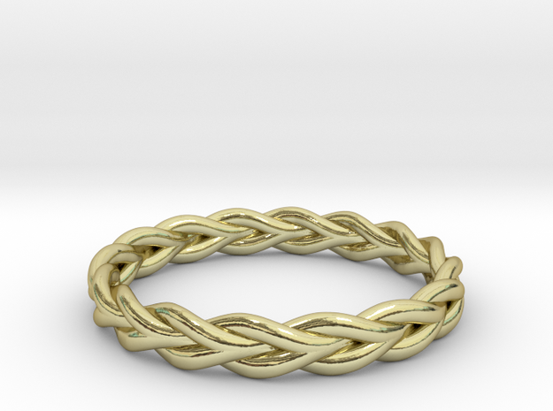 Ring of braided rope - size 9 in 18k Gold Plated Brass