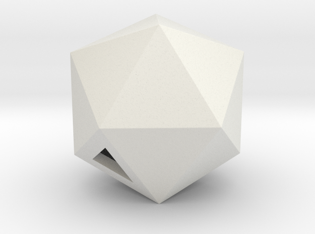 Icosahedron - small / hollow in White Natural Versatile Plastic
