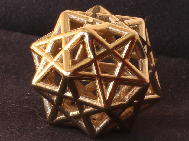 Star Dodecahedron Pendant in Polished Brass