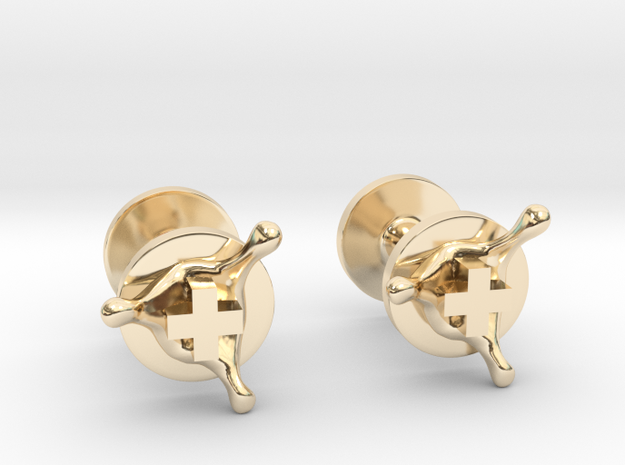PositiveXSplash cufflinks in 14k Gold Plated Brass